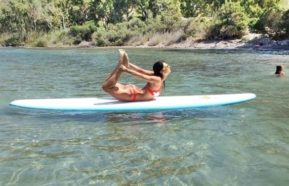 Bow pose Surf Yoga Greece Paddle Boarding