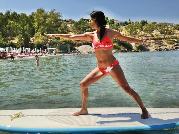 warrior pose Trikanasana Surf Yoga Greece Paddle Boarding