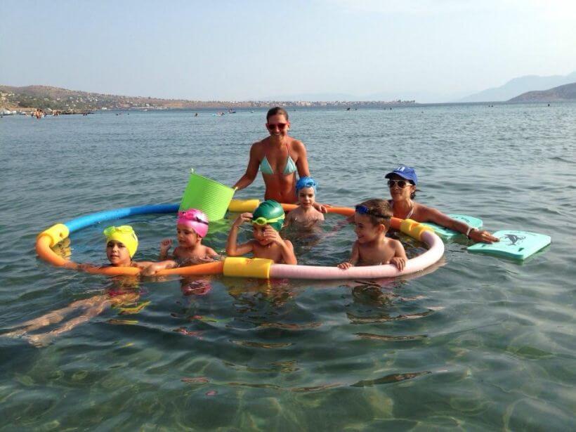 baby swimming Aegina Greece